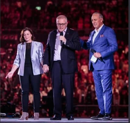 Jenny Morrison, Scott Morrison and Brian Houston at Hillsong Church on Tuesday night (9/7/19)