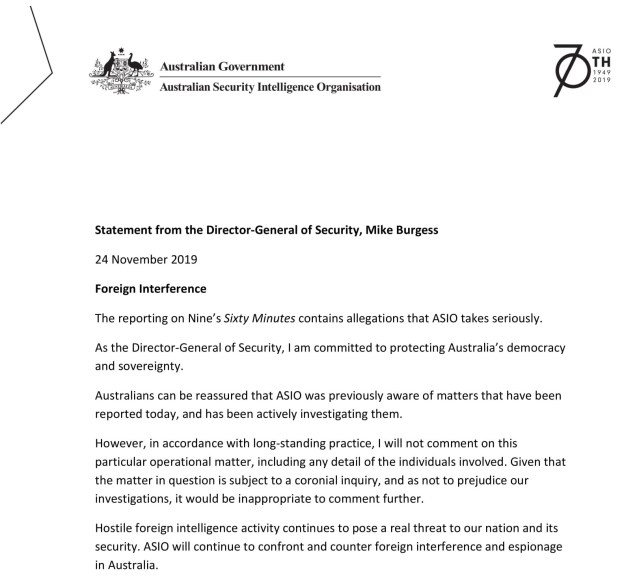 Statement from Director-General of Security Mike Burgess - 24 November 2019-1