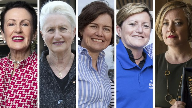 From left. Clover Moore, Kerryn Phelps, Louise Clegg, Christine Forster and Linda Scott