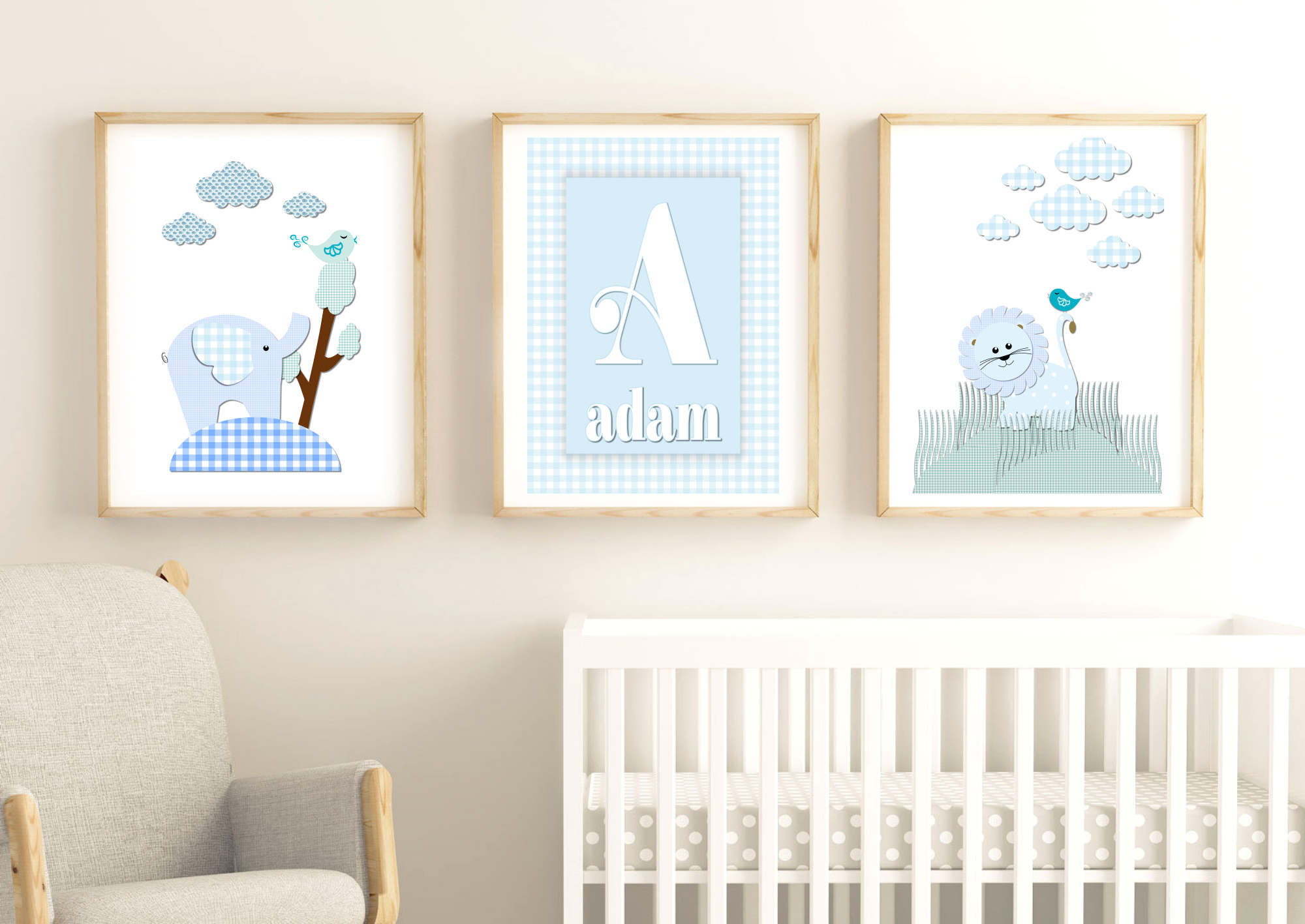 Savanna Animals Lion & Elephant Personalised Nursery Prints for Baby Boy by Kangaroo Kids Designs