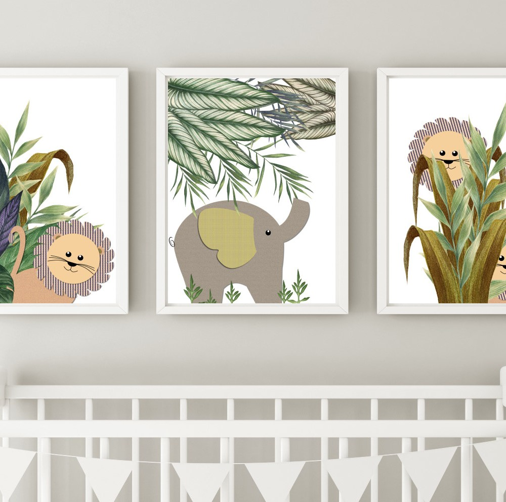 Jungle Safari Lion & Elephant Nursery Kids Wall Art Print Set