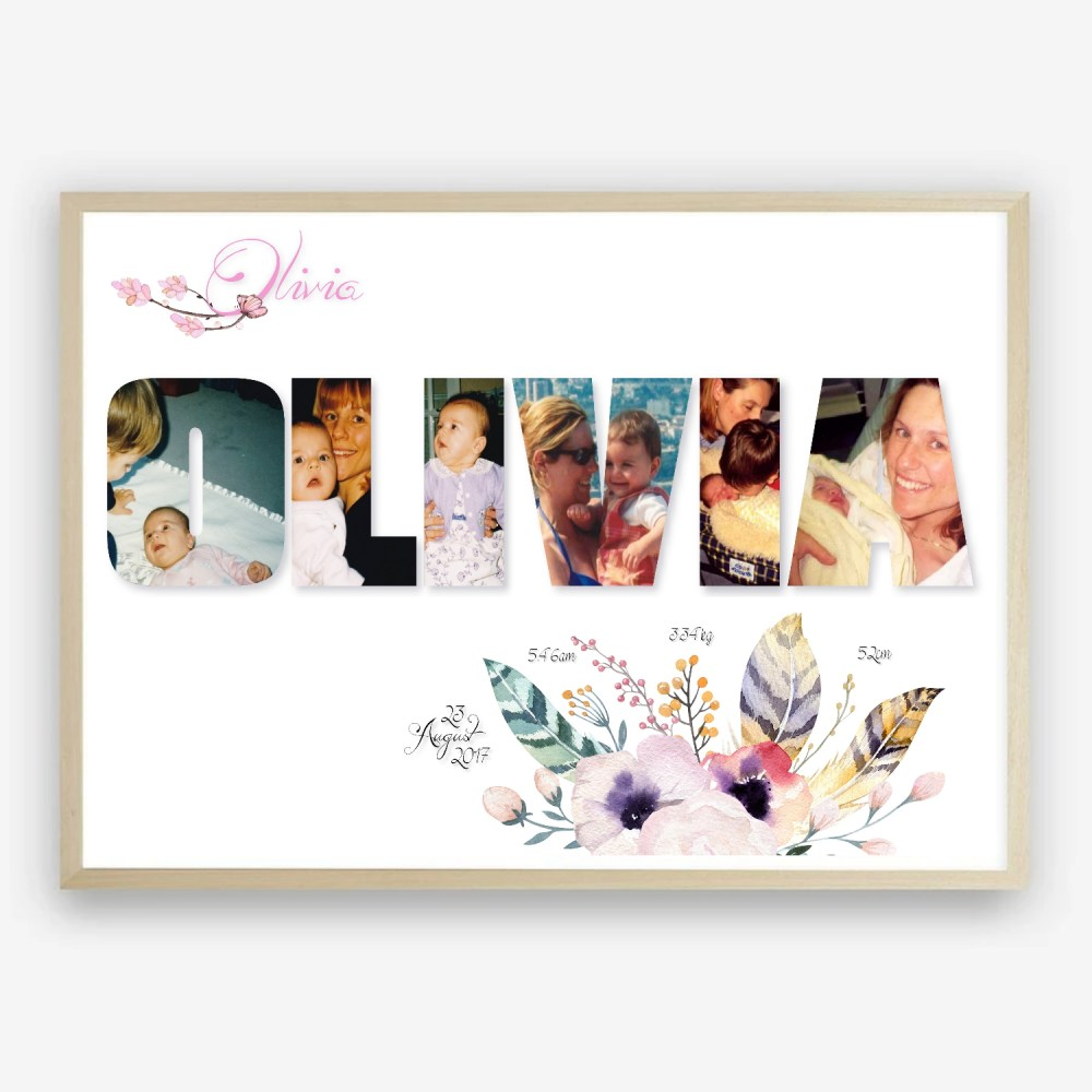 Baby Name Personalised Photo Collage Print by Kangaroo Kids Designs