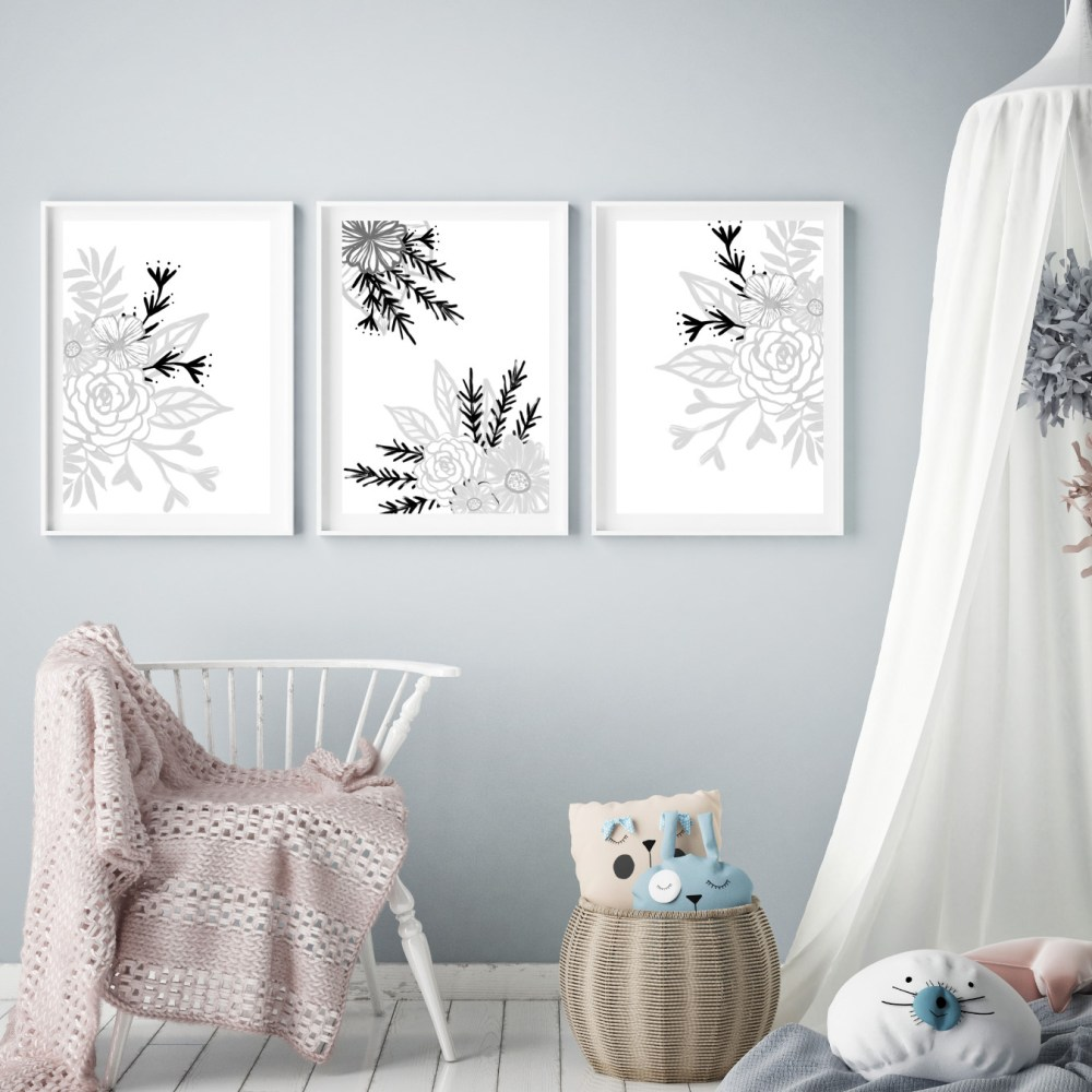 Monochrome Floral Nursery Print Set