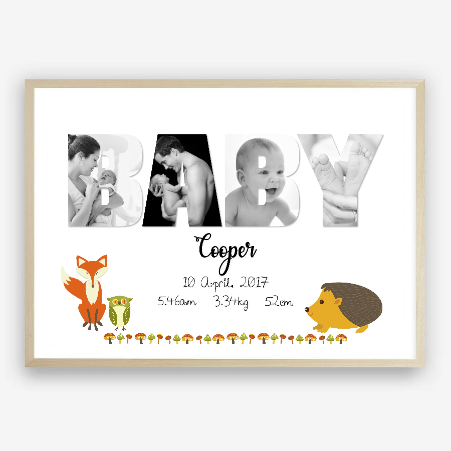 BABY Personalised Photo Collage/Birth Stats Print