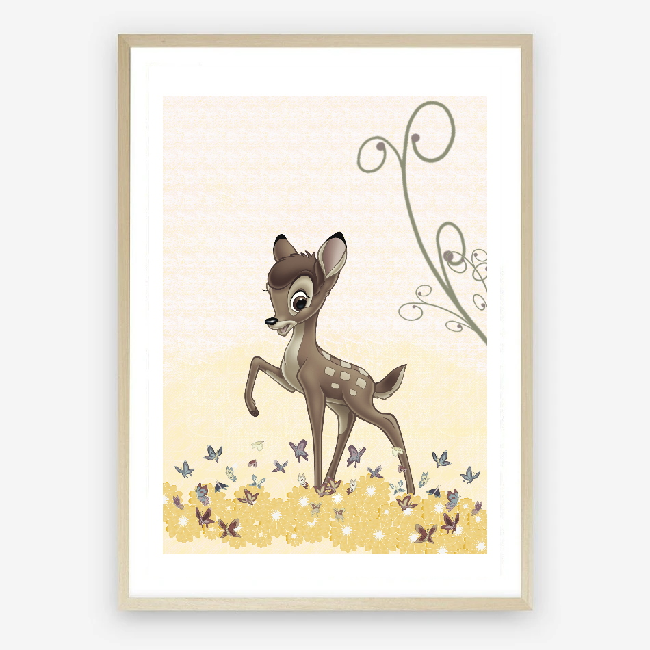 Bambi Digital Nursery Print in Shades of Lemon