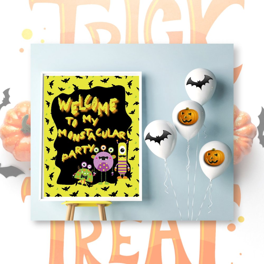 Halloween Monster Mash Party Welcome Poster by Kangaroo Kids Designs
