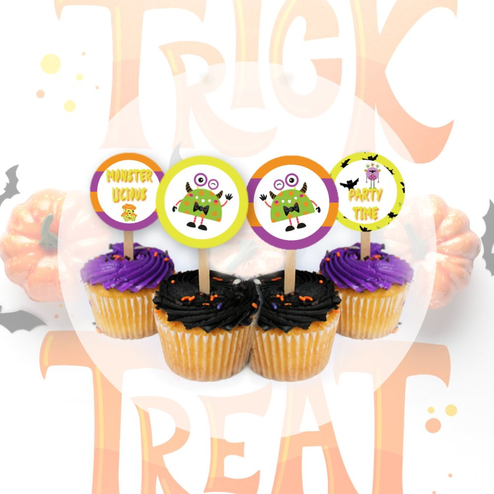 "Halloween DIY Monster Mash 2"" Circles Cupcake Toppers by Kangaroo Kids Designs"