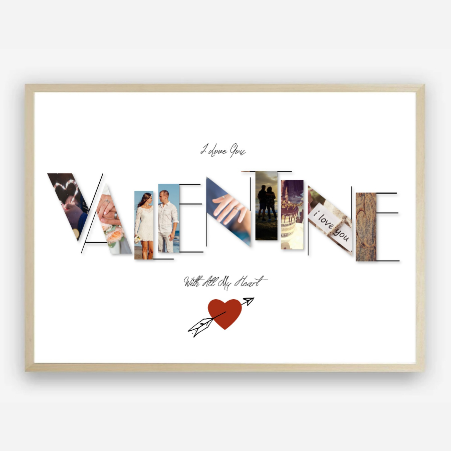 I Love You Valentines Day Gift Idea Custom Photo Collage Print by Kangaroo Kids Designs