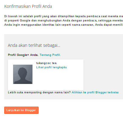 konfirmasi profile blog