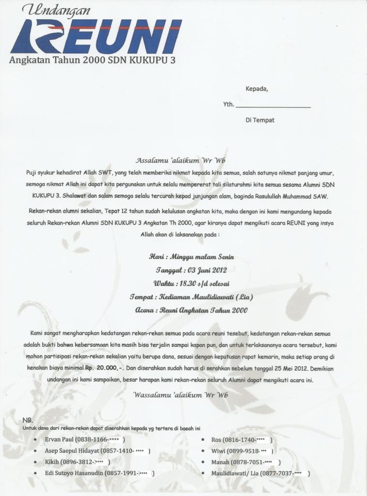 Contoh Undangan Reuni Tk - Contoh Isi Undangan