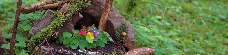 Ein kleiner Altar im Wald mit Blumen und Sauerklee und anderen Naturmaterialien