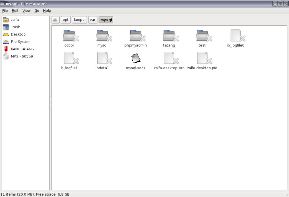 Folder Database dalam Aplikasi XAMPP