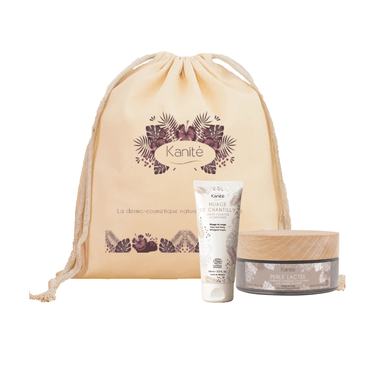 a canvas bag with a tube of cloud cream and a jar of milk pearl