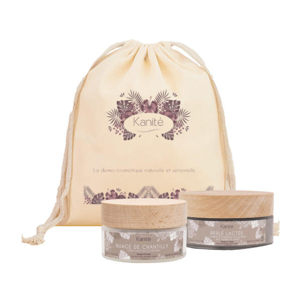 cocooning fabric bag with a jar of whipped cream and a jar of milk pearl