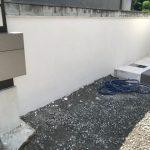 エントランスブ・ロック塀の漆喰塗り