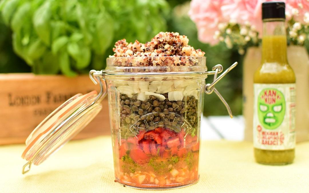 Jalapeño lentil quinoa salad