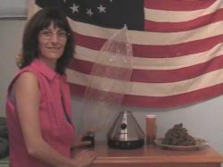 Angel with vaporizer and cannabis flag