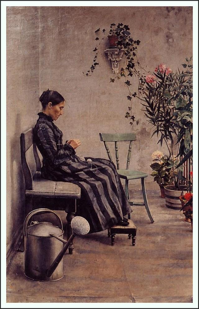 The Knitter Die Strickerin Kunst Art Artist Künstler Realismus