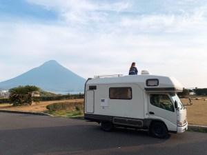 九州旅行 鹿児島 開聞岳とキャンピングカー キャンピングカーレンタル滋賀
