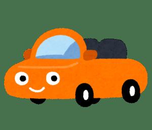 オレンジのオープンカーとカーナビの取付け