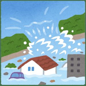 台風による洪水・水災で壊れた家 堤防決壊