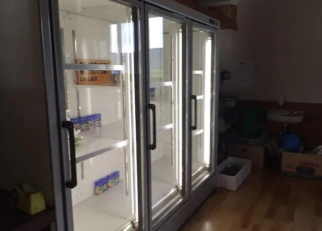 月山あさひサンチュアパークの炊事棟の冷蔵庫