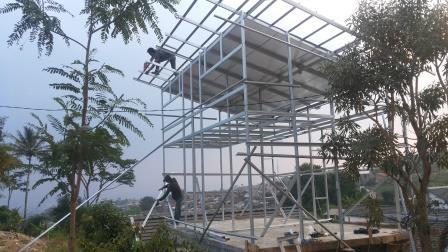 konstruksi baja ringan rumah minimalis ph:0822-14146314 kanopi |