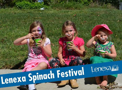 Lenexa Spinach Festival - three young girls sitting in the grass eating snacks