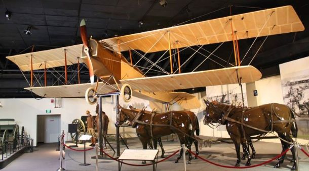 Museums in Kansas City - plane and horse display at Frontier Army Museum