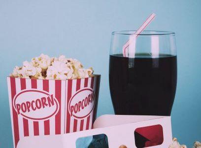 Movie popcorn, soda and 3-d glasses
