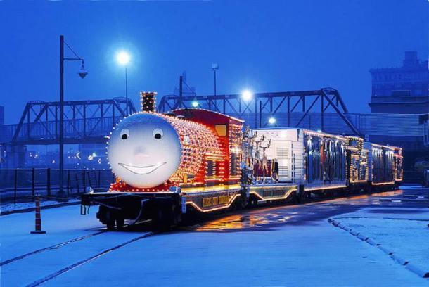 Union Station Kansas City - Kansas City Southern Holiday Express train lit up at night