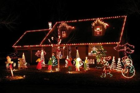 Candy Cane Lane holiday lights display in Prairie Village, KS