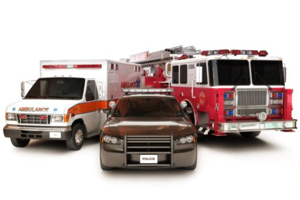 First responders - ambulance, police car and fire truck