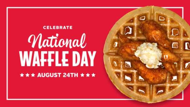 Slim chickens National Waffle Day deal poster