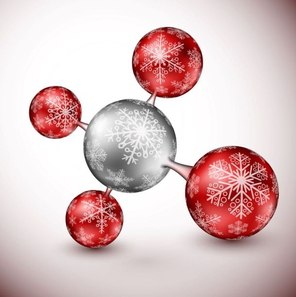 Holiday events at Science City Union Station - atom particle make of snowflakes