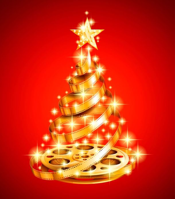 Classic Holiday Movies - Christmas tree made of gold film strip