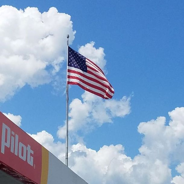 Kansas City Veterans Day deals - American flag flying at a Pilot Flying J store