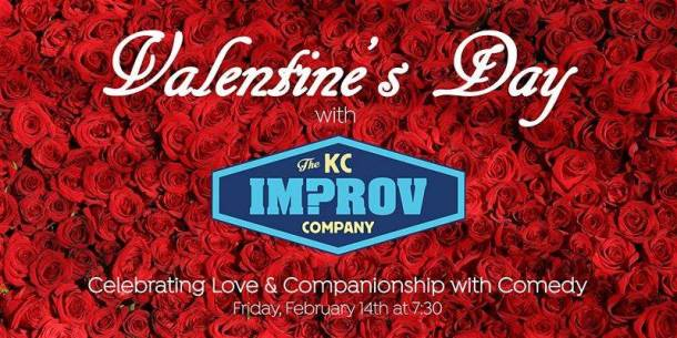 Comedy show in Kansas City - KC Improv Company logo on a background of red roses