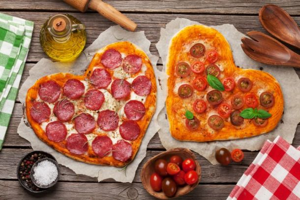 Valentine's Day food specials in Kansas City - two hearth-shaped pizzas