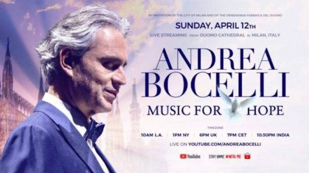Andrea Bocelli Easter performance in Milan