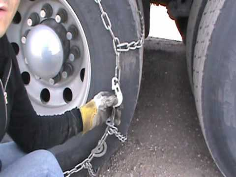 How to put chains on a truck tire - Łańcuchy na koła trucka