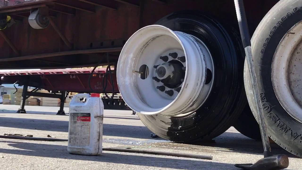 Just another outside truck tire changing video