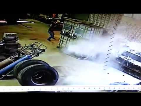 Truck Tire Blows Up In Shop