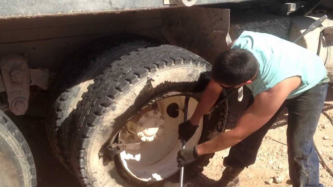 Changing truck tires on big rig - mounting