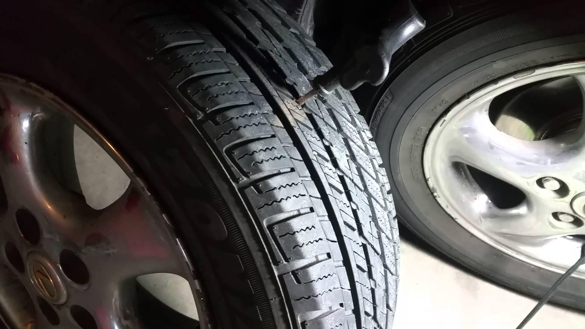 Flat Tire repair using tire plug kit