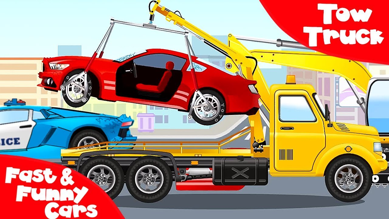 The Tow Truck on the Road - Service Vehicles Cartoon - Cars & Trucks Kids Animation