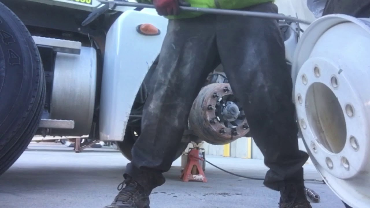 Walk-through on a semi truck steer tire