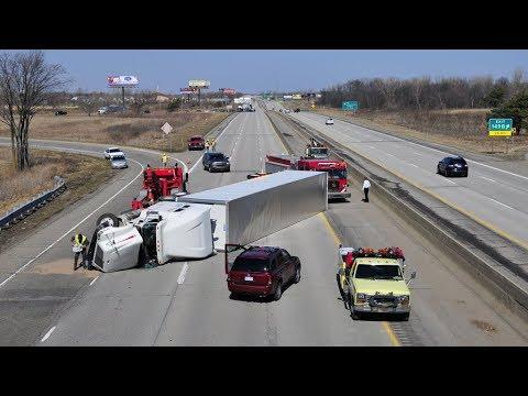 Semi Truck vs Strong Wind. Semi Truck Blown Over.