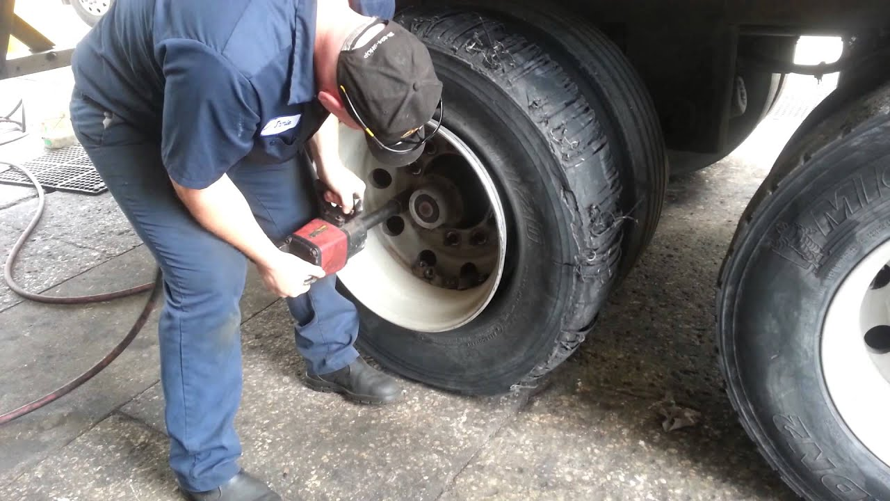 Changing tire at the TA truck stop in St. Johns Florida