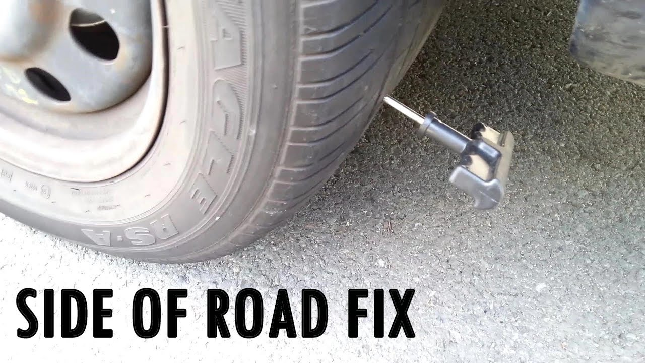 Screw Puncture Flat Tire Fix on Side of Road - I use rubber cement with plug
